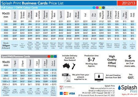 quality printed business card price list pdf download
